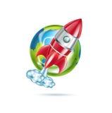 Icono del globo de Rocket y de la tierra aislado stock de ilustración