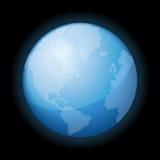 Icono del globo del mundo en fondo negro. Vector Fotografía de archivo libre de regalías