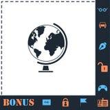 Icono del globo plano stock de ilustración