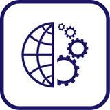 Icono del globo y del engranaje del vector Fotos de archivo