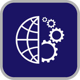 Icono del globo y del engranaje del vector Imagenes de archivo