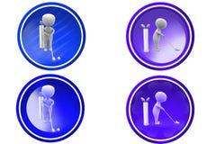 icono del golf del juego del hombre 3d Imagenes de archivo