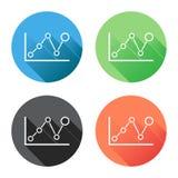 Icono del gráfico de la carta con la sombra larga Fotos de archivo libres de regalías