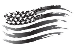 Icono del grayscale del vector de la bandera de los E.E.U.U. Foto de archivo libre de regalías