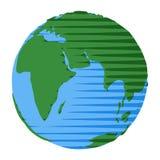 Icono del hemisferio del este de la tierra dibujado en estilo plano de la historieta libre illustration