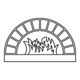 Icono del horno de la leña, estilo del esquema ilustración del vector
