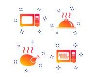 Icono del horno de microondas Cocinar la porción de la comida Vector ilustración del vector