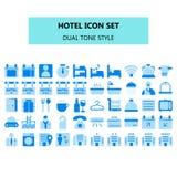 Icono del hotel fijado en pixel perfecto Estilo dual plano de los iconos del color de tono ilustración del vector