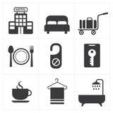 Icono del hotel y de los servicios de hotel Imagen de archivo