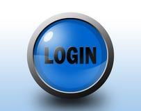 Icono del inicio de sesión Botón brillante circular Imagen de archivo