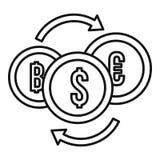 Icono del intercambio de la moneda del dinero, estilo del esquema libre illustration