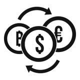 Icono del intercambio de la moneda del dinero, estilo simple stock de ilustración