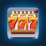 Icono del juego del smartphone del vector del casino con la máquina tragaperras de 777 triunfos Imagen de archivo libre de regalías
