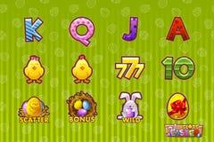 Icono del juego del vector de los símbolos de Pascua para las máquinas tragaperras y una lotería o un casino La historieta fijó 1