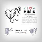 Icono del jugador de música, amo el ejemplo del vector de la música Fotografía de archivo libre de regalías