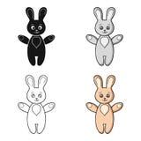 Icono del juguete del conejo en estilo de la historieta aislado en el fondo blanco Ejemplo llevado bebé del vector de la acción d stock de ilustración