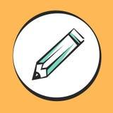 Icono del lápiz para el app y el web Muestra o botón del arte pop del vector Foto de archivo libre de regalías