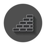 Icono del ladrillo de la pared en la línea estilo Foto de archivo