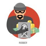 Icono del ladrón con la caja fuerte Foto de archivo