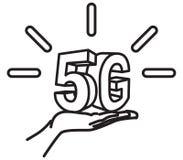 icono del lanzamiento de la tecnología 5G Imagen de archivo