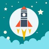 Icono del lanzamiento Rocket en espacio stock de ilustración