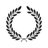 Icono del laurel aislado en el fondo blanco Arte del vector Diseño negro, oscuro Perfeccione para las invitaciones, tarjetas de f ilustración del vector