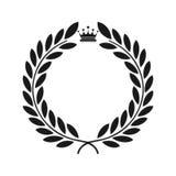 Icono del laurel aislado en el fondo negro Arte del vector Diseño del negro y del wtite Perfeccione para las invitaciones, tarjet stock de ilustración
