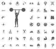 Icono del levantamiento de pesas Iconos determinados del vector del ejemplo del deporte Sistema de 48 iconos del deporte Fotos de archivo libres de regalías