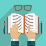 Icono del libro con la mano ilustración del vector