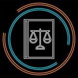 Icono del libro de ley - icono del juez - muestra legal stock de ilustración
