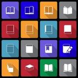 Icono del libro fijado con la sombra larga imágenes de archivo libres de regalías