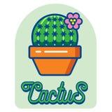 Icono del logotipo del cactus Imagenes de archivo