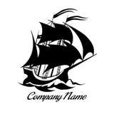 Icono del logotipo del barco de vela Foto de archivo libre de regalías