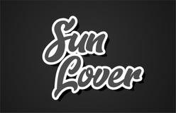 icono del logotipo del diseño de la tipografía del texto de la palabra de la escritura de la mano del amante del sol stock de ilustración