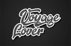 icono del logotipo del diseño de la tipografía del texto de la palabra de la escritura de la mano del amante del viaje stock de ilustración