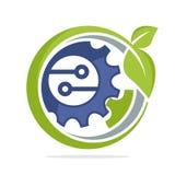 Icono del logotipo para el negocio verde de la tecnología, respetuoso del medio ambiente libre illustration