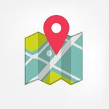 Icono del mapa con el indicador Fotografía de archivo libre de regalías