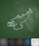 Icono del mapa de Pyong Yang Ilustración drenada mano del vector Imagen de archivo libre de regalías