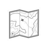 Icono del mapa Icono del mapa del tesoro Imagen de archivo libre de regalías