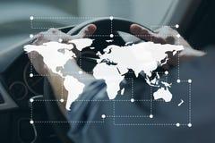 Icono del mapa del mundo contra la conducción de la persona Fotos de archivo libres de regalías