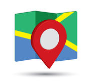Icono del mapa un 3D Pin Design Imagenes de archivo