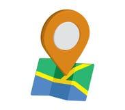Icono del mapa un 3D Pin Design Imagen de archivo libre de regalías