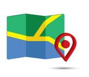 Icono del mapa un 3D Pin Design Imágenes de archivo libres de regalías