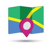 Icono del mapa un 3D Pin Design Foto de archivo libre de regalías
