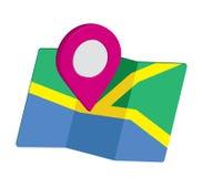 Icono del mapa un 3D Pin Design Fotos de archivo libres de regalías