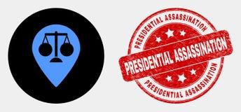 Icono del marcador del mapa de la justicia del vector y sello presidencial rasguñado del asesinato ilustración del vector