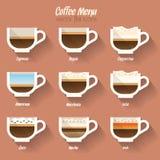 Icono del menú del café Imagenes de archivo