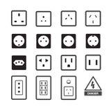 Icono del mercado eléctrico y del enchufe Imagen de archivo libre de regalías