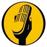 Icono del micrófono de la vendimia Imagenes de archivo