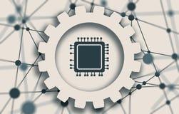Icono del microprocesador de la CPU Foto de archivo libre de regalías